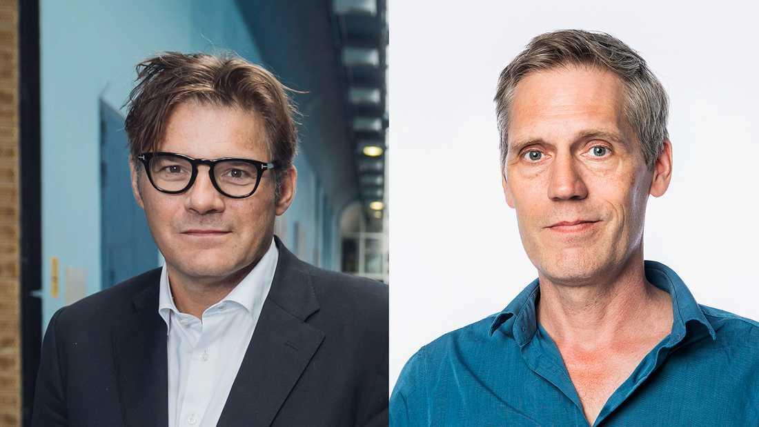 """Jan Helin och Petter Larsson debatterar SVT:s nya satsning """"Sverige möts""""."""