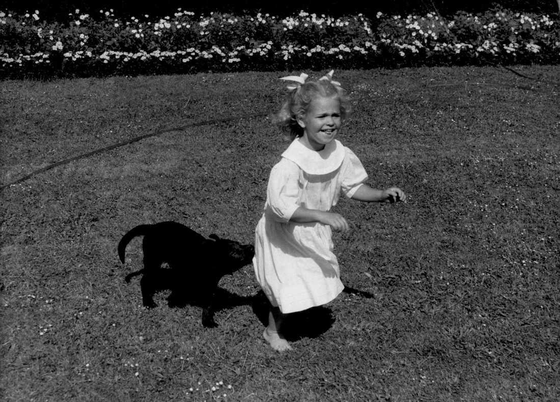Hundlekar Ännu en bild från sommaren 1986 på Solliden. Prinsessan Madeleine busar och jagas av labradorvalpen Dino.