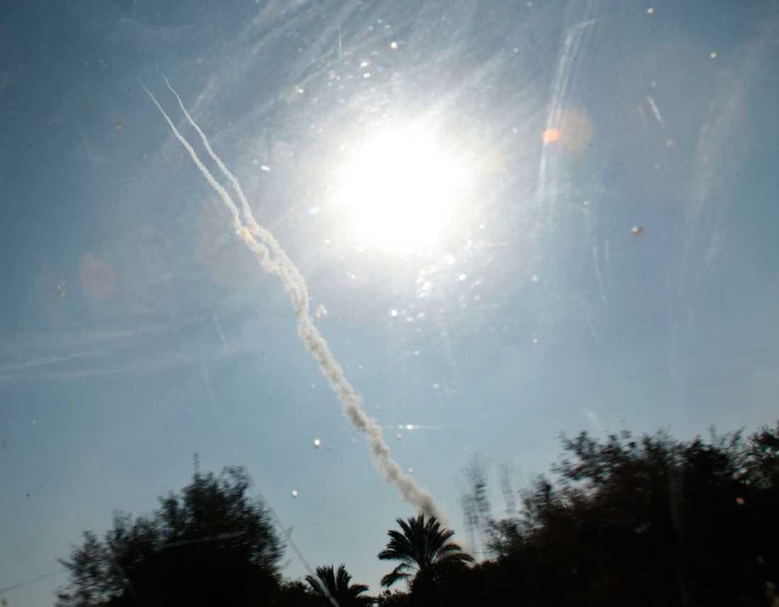 Hamas raketer på väg mot Israel.