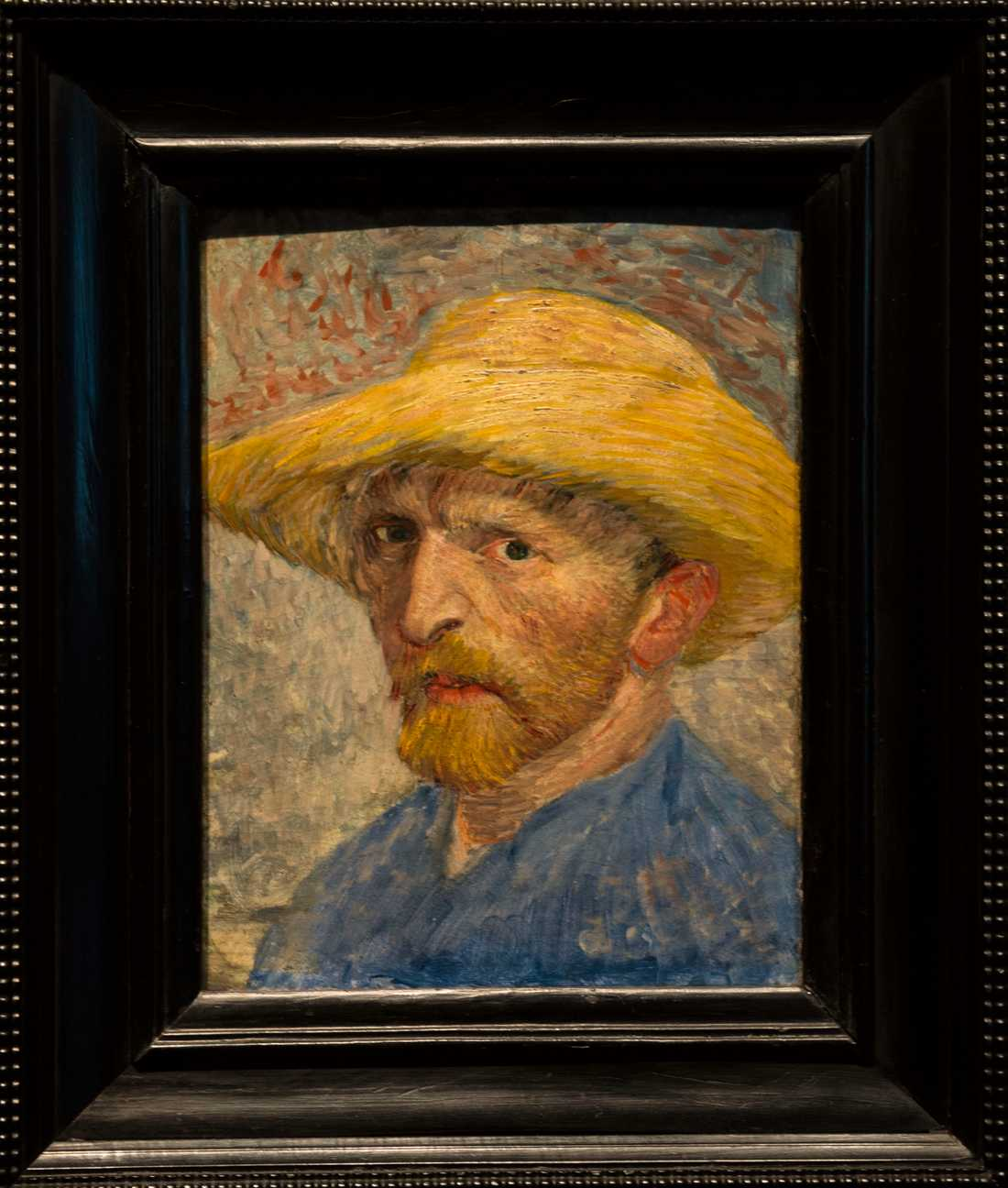 """""""Självporträtt i ståhatt"""" från 1887 av Vincent van Gogh, konstnär Nederländerna."""