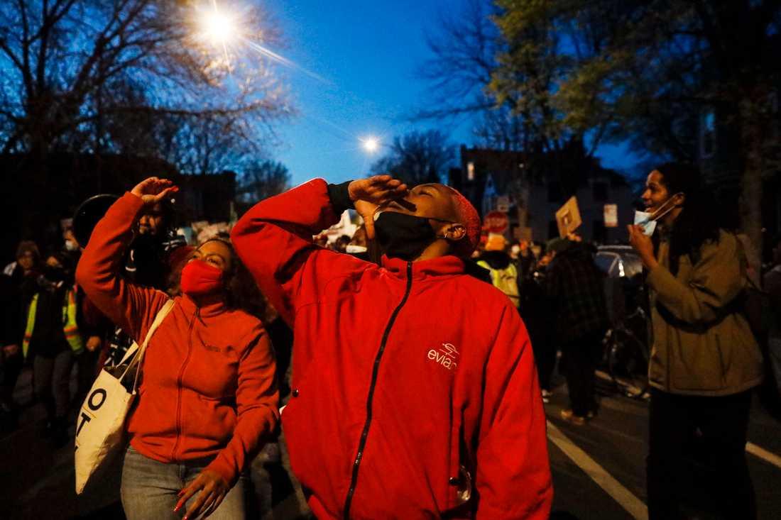 Demonstranter i Chicagos Logan Park på fredagen.