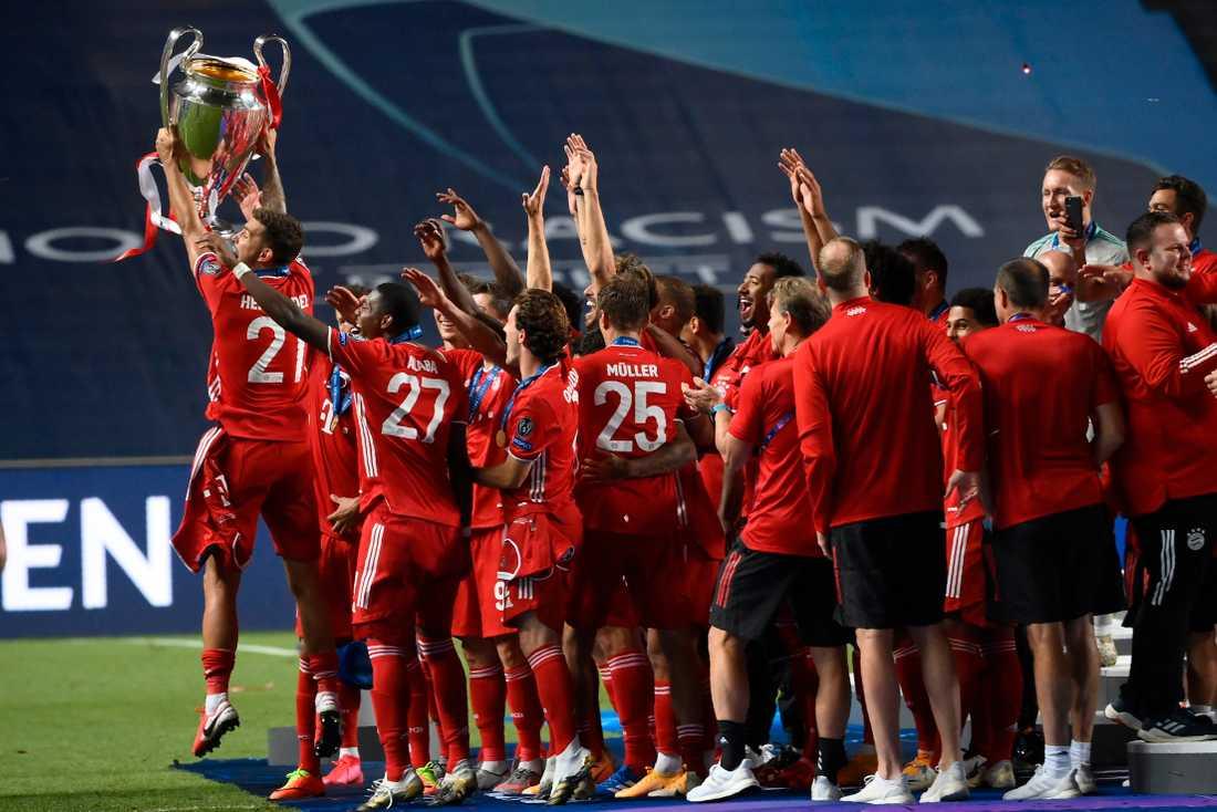 Bayern München firar Champions League-titeln efter finalsegern mot Paris SG i somras. Arkivbild.
