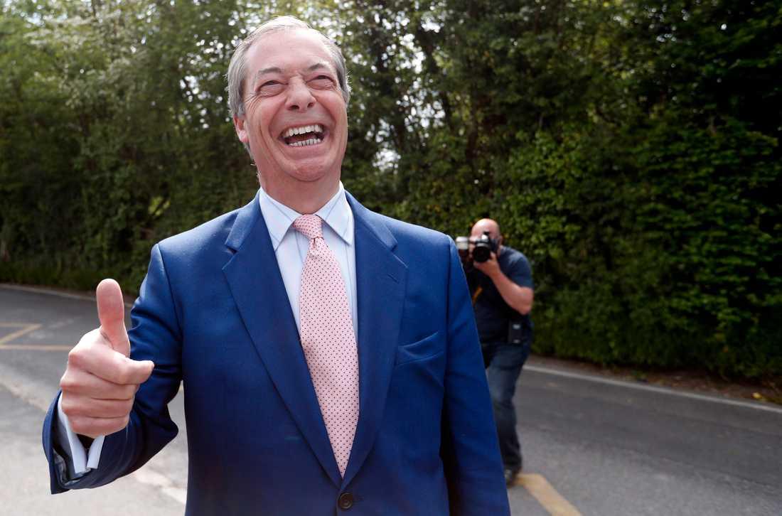 Brexitpartiets ledare Nigel Farage är glad redan på förhand. Arkivfoto.