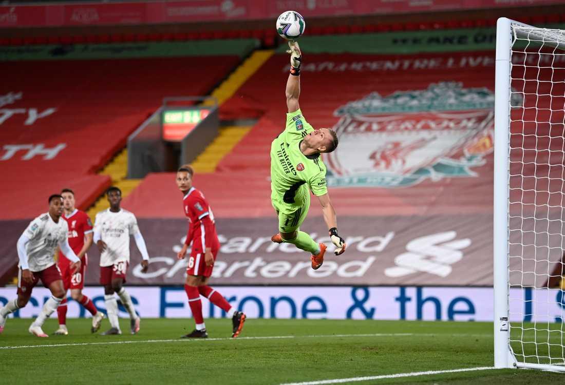 Målvakten Bernd Leno storspelade i Arsenals straffseger mot Liverpool i ligacupen.