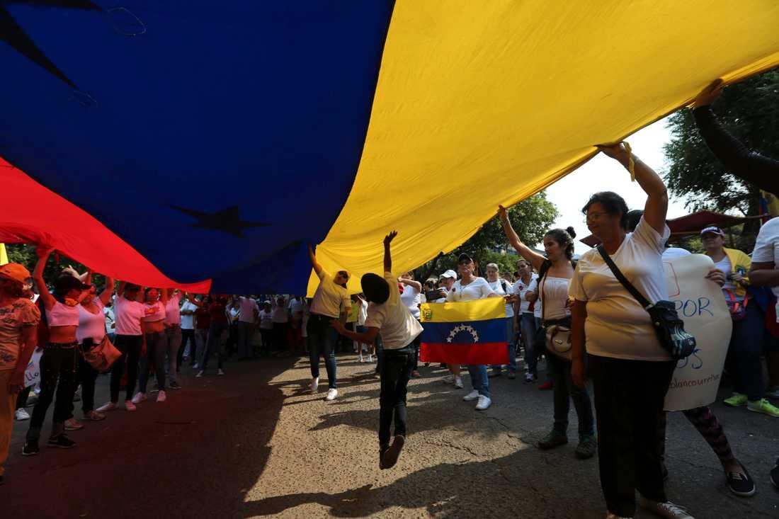 Oppositionella demonstranter protesterar mot sittande presidenten Nicolás Maduros regim i staden Urena i Venezuela, nära gränsen mot Colombia.