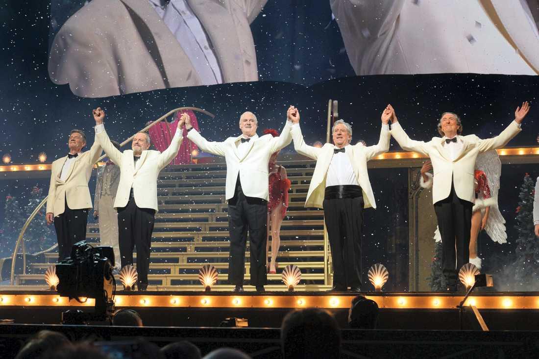 Monty Python-medlemmarnas sista show på O2 Arena i London var en sammanfattning av en 45 år lång karriär. Från vänster: Michael Palin, Terry Gilliam, John Cleese, Terry Jones, Eric Idle. Arkivbild.