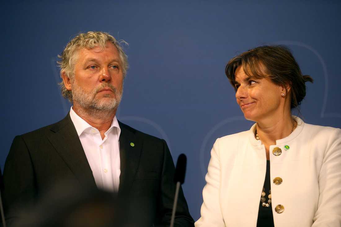 Peter Eriksson, ny bostadsminister, och Isabella Lövin, minister för internationellt samarbete och klimat samt vice statsminister.
