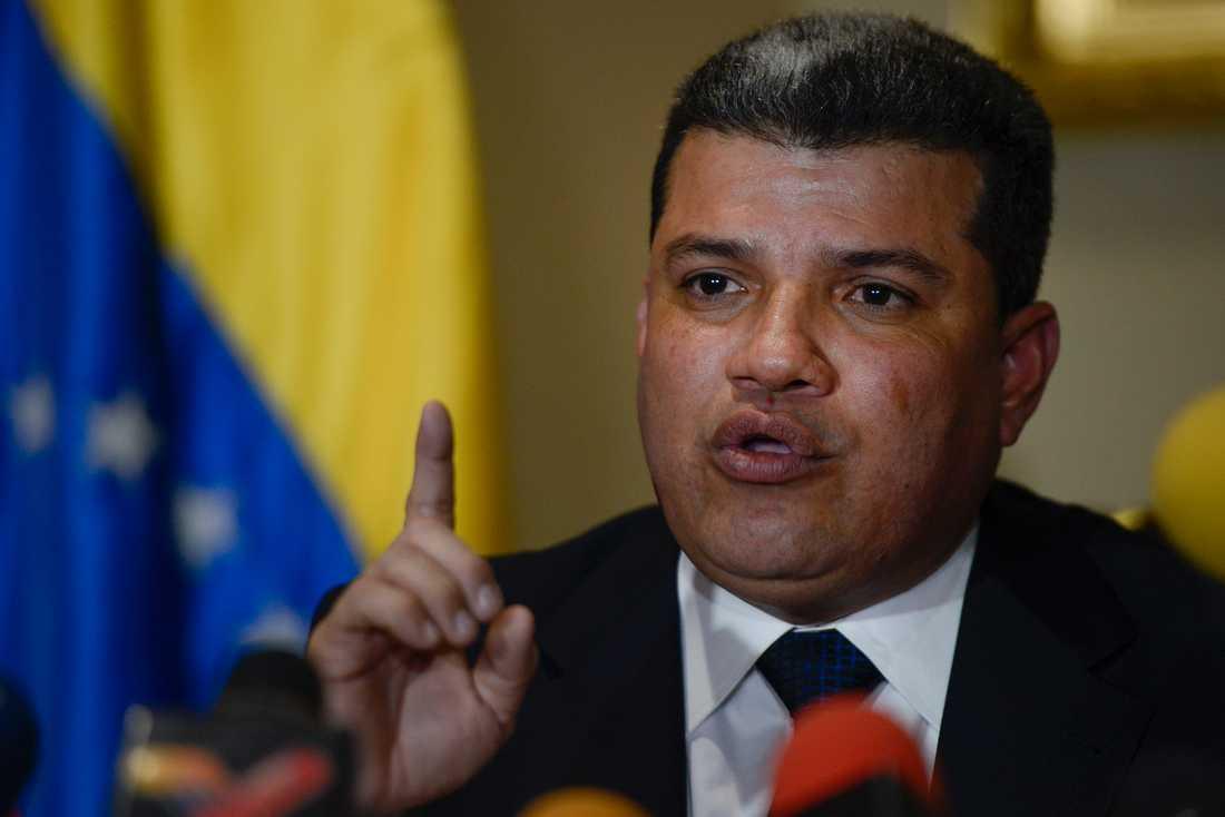 Luis Parra, ledamot i Venezuelas nationalförsamling, som brutit med oppositionsledaren Juan Guaidó. Arkivbild.