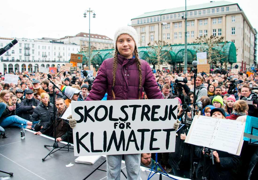 Klimataktivisten Greta Thunberg i Hamburg, Tyskland, den 1 mars. Arkivbild.
