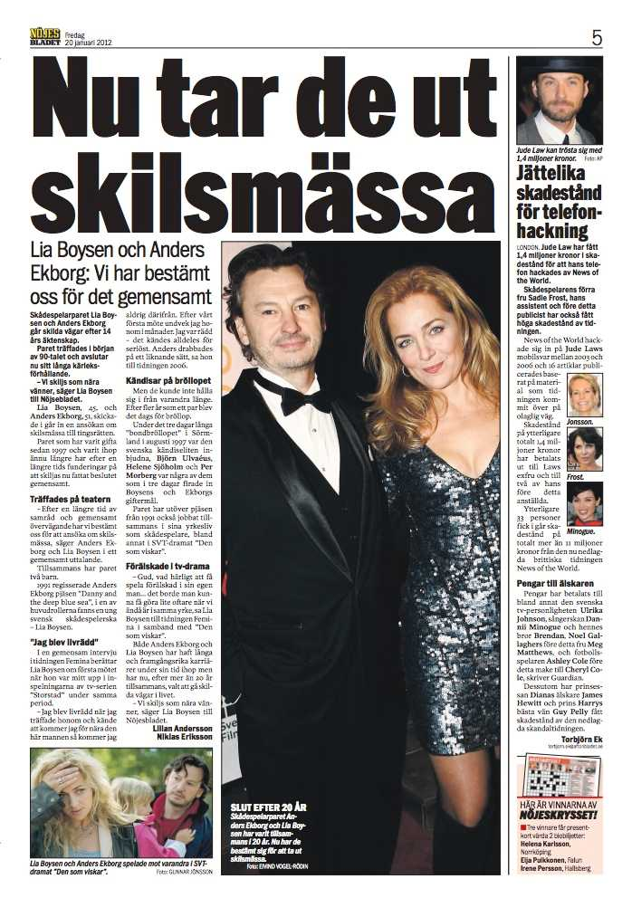 Lia Boysen och Anders Ekborg skilde sig 2012.