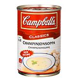 Campbells champinjonsoppa, 295 gram – innehåller en champinjon av totalt 4,5 procent/13 gram svamp (smörsopp, shiitake, champinjon och karljohan). En färsk champinjon väger cirka 13-15 gram. Källa: Råd & Rön