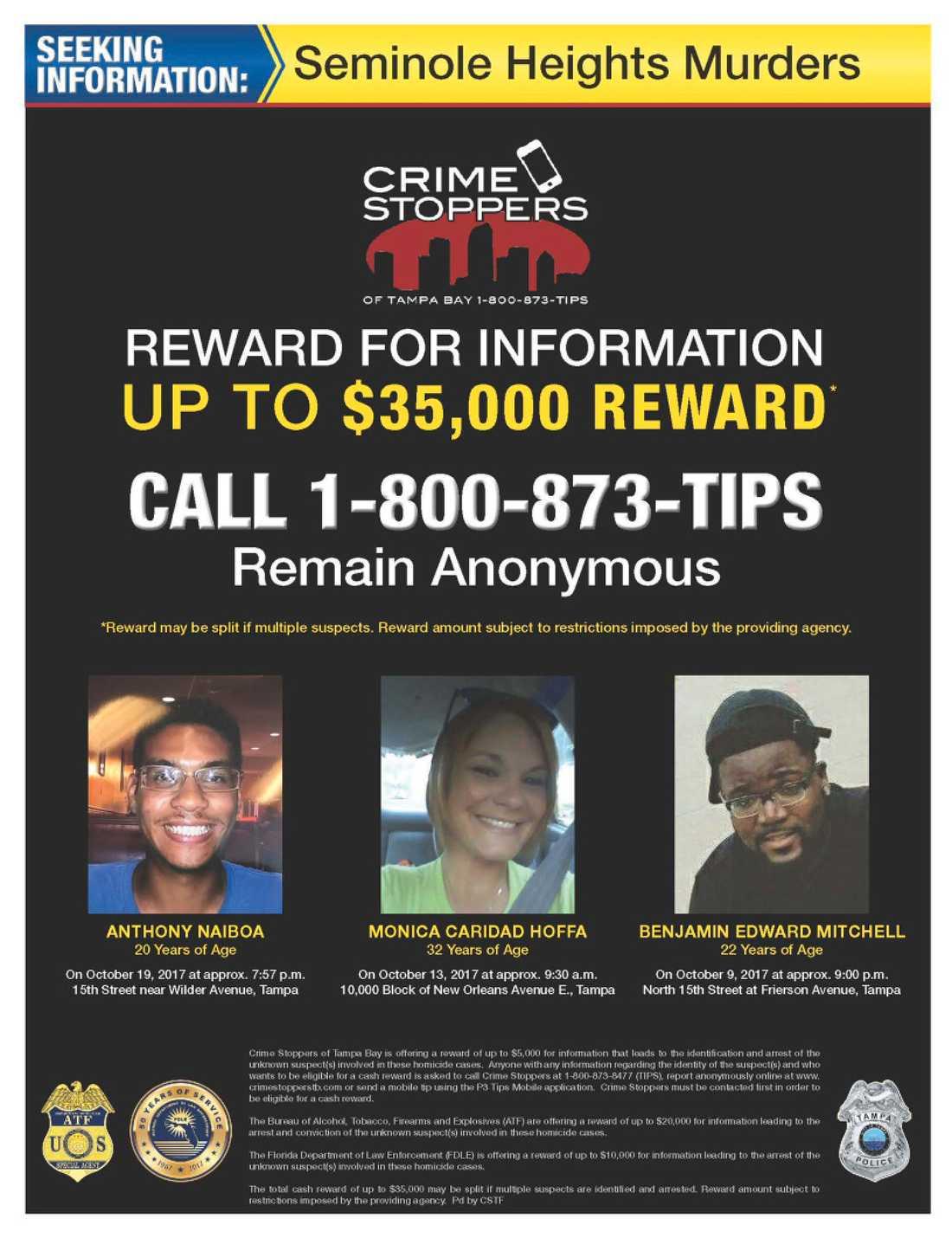 En affisch visar mördarens tre första offer och erbjuder upp till 35000 dollar i belöning för tips om morden.