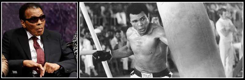NU OCH DÅ Till vänster, Muhammad Ali i september 2012. Till höger, boxningsikonen 1974 inför mötet med George Foreman.