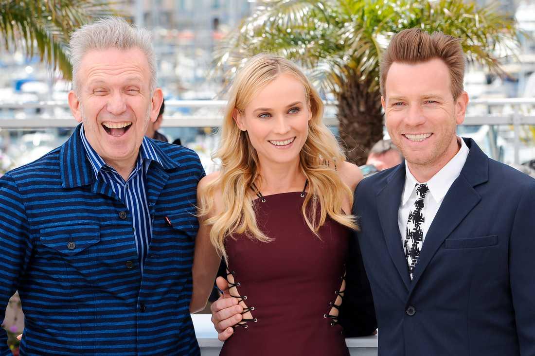 Jean Paul Gaultier (till vänster), Diane Kruger, Ewan McGregor  På filmfestivalen i Cannes förra året.