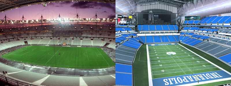 Dyra byggen Stade de France i Paris och Lucas Oil Stadium i Indianapolis är två av världens dyraste arenor.