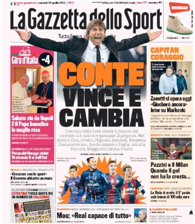 Ibrahimovic är ett hett ämne i dagens italienska tidningar. Här är La Gazzetta dello Sport idag.