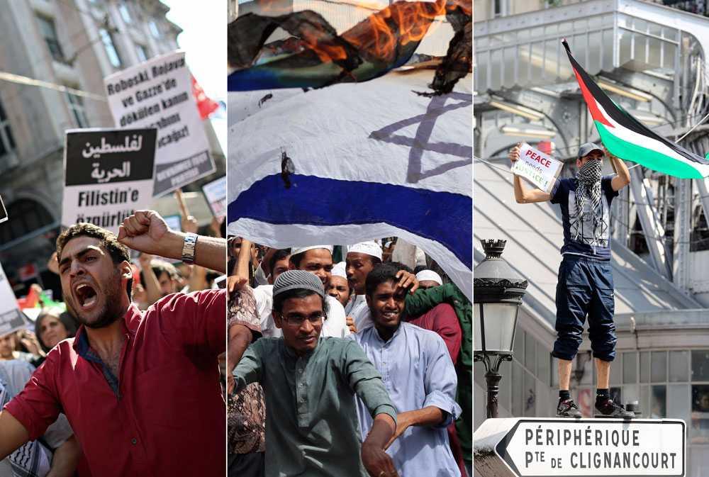 """Runtom i världen hålls protester mot Israels offensiv, bland annat i Turkiet, Bangladesh och Frankrike. Frankrike förbjuder pro-palestinska demonstrationer på grund av """"risk för våld"""" efter att anhängare av båda sidorna attackerat varandra."""