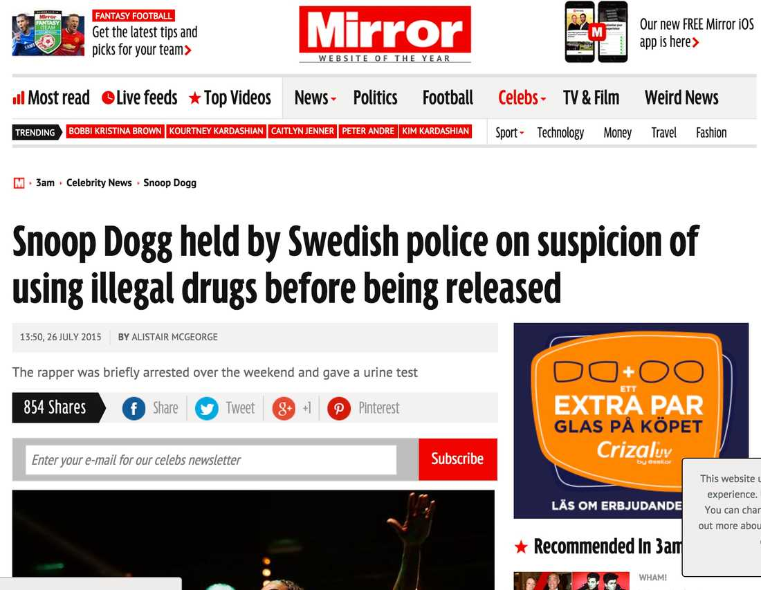 Mirror Snoop Dogg tagen av svensk polis misstänkt för användning av illegala droger och sen släppt