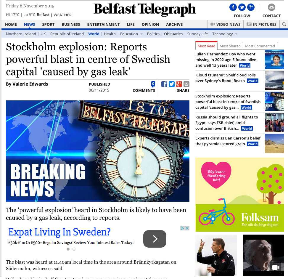 Faksimil från Belfast Telegraph.
