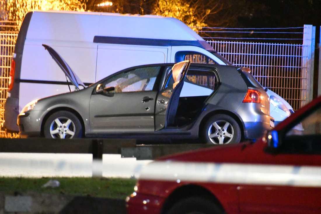 Den skottskadade bilen.