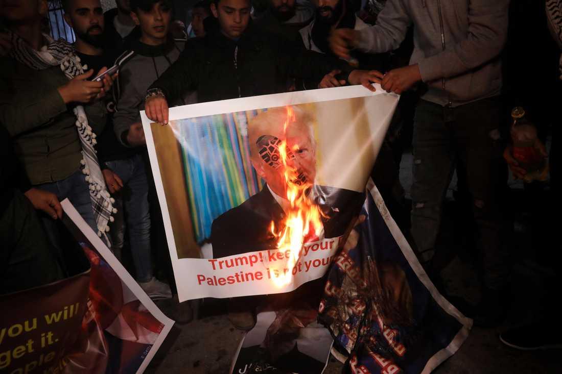 Palestinier bränner en affisch med Trumps bild under en protest nära Betlehem på tisdagskvällen. ……