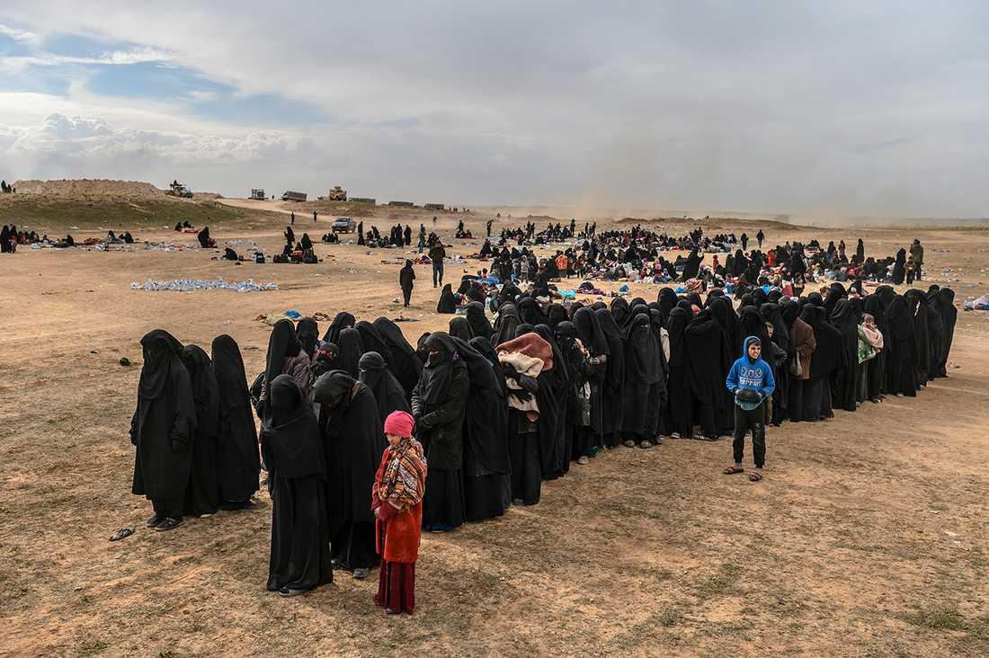 Evakuerade människor från Baghouz.