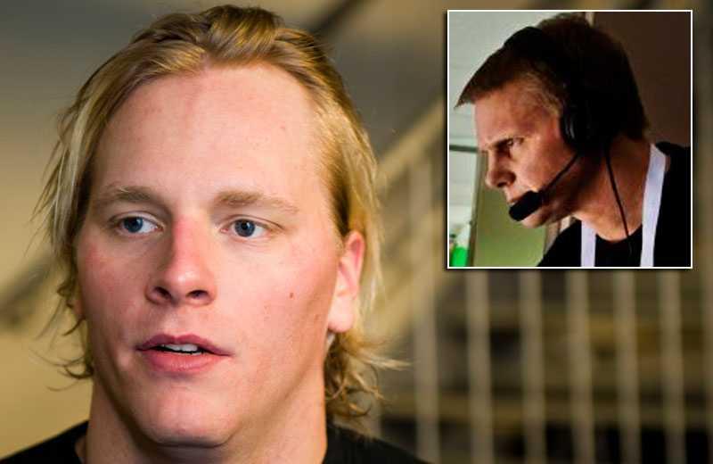 Mathias Månsson sågas av Niklas Wikegård (lilla bilden).