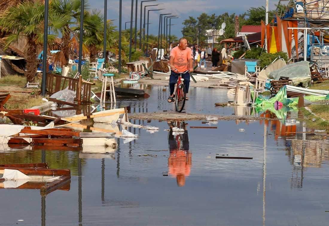 Nea Plagia i norra Grekland efter stormen