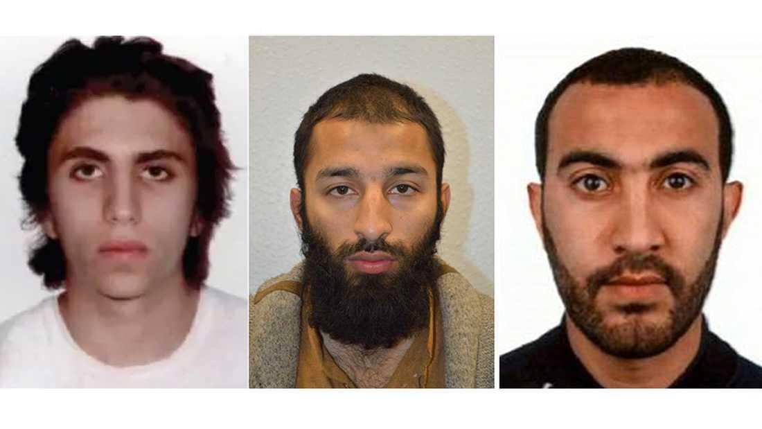 Youssef Zaghba, 22, Khuram Butt, 27, och Rachid Redouane, 30, utförde attacken, enligt polisen.