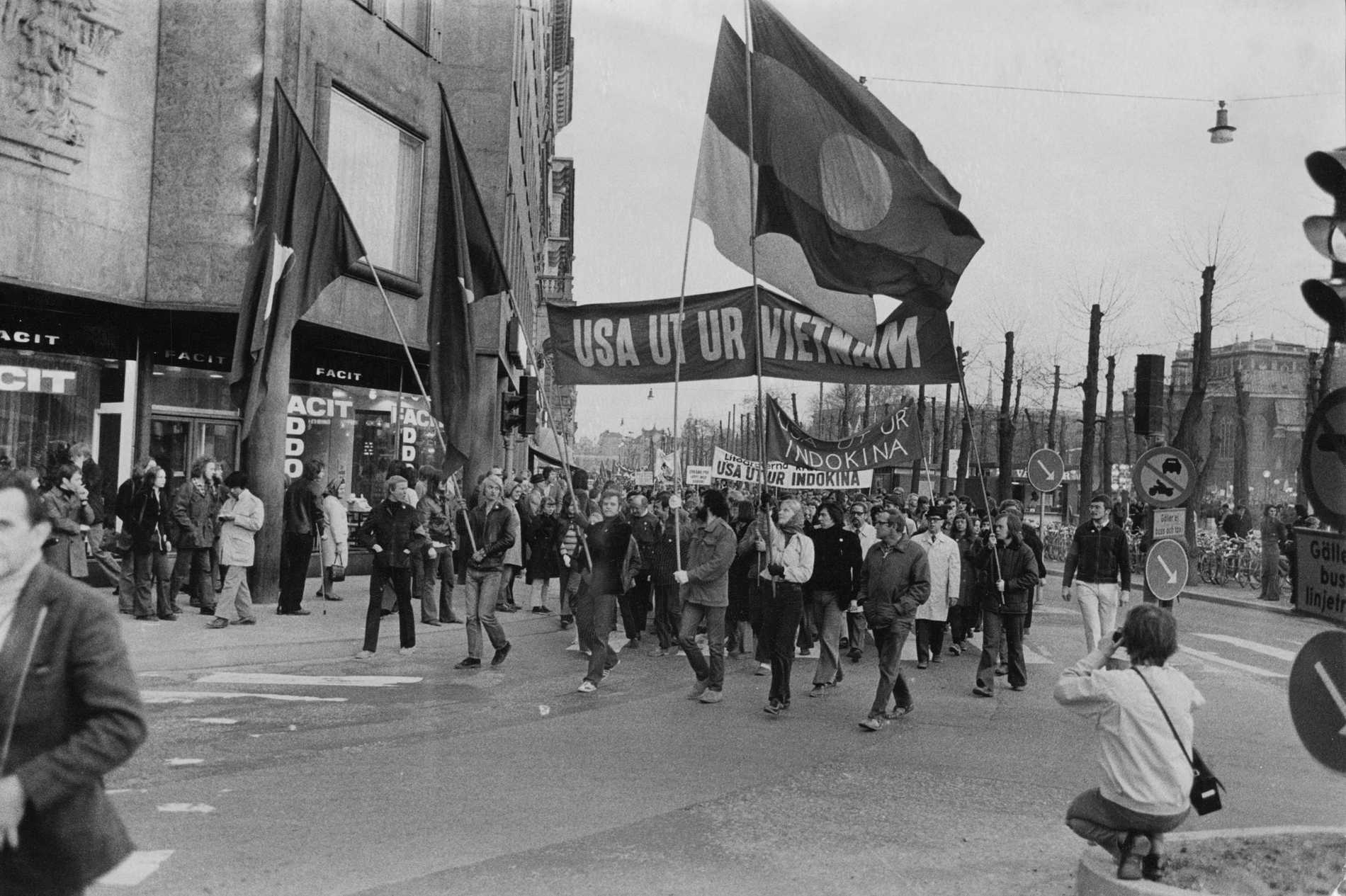 Demonstration mot Vietnamkriget i Stockholm 1972.
