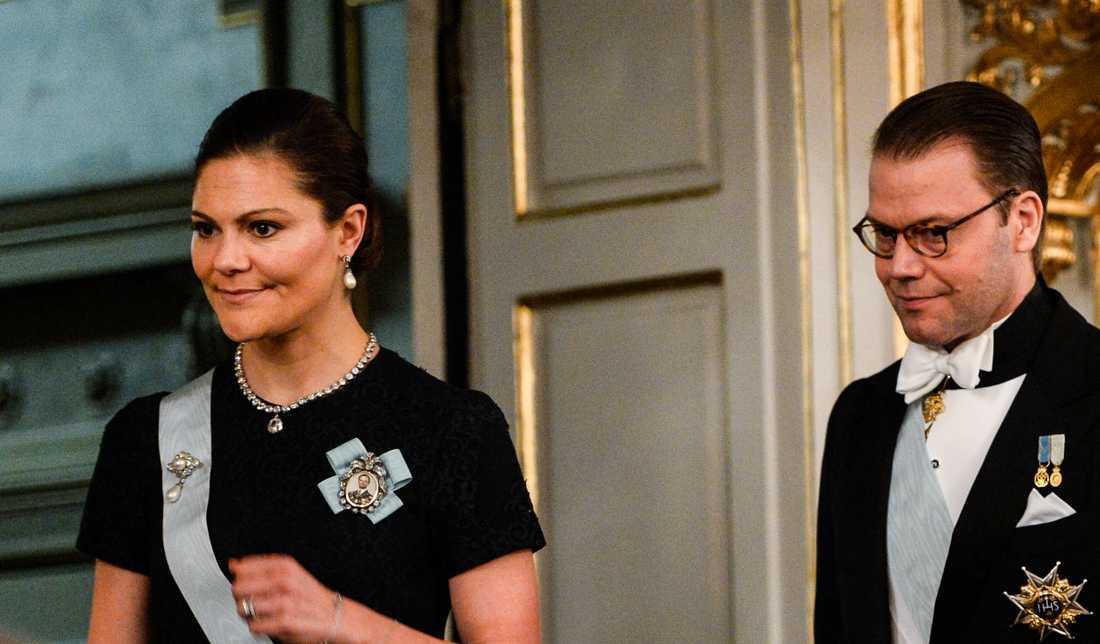 Victoria och Daniel på Svenska akademiens sammankomst i december. Det är kronprinsessans senaste officiella uppdrag.
