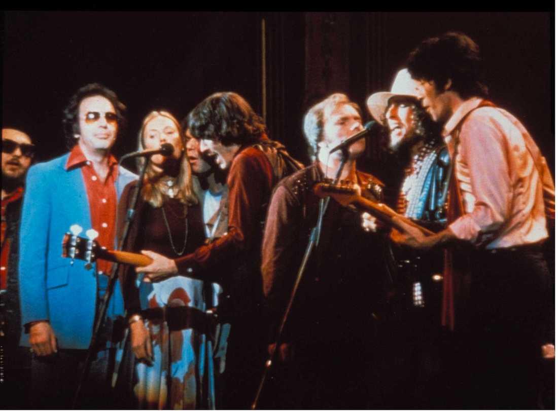 "Dr John, Neil Diamond, Joni Mitchell, Rick Danko, Van Morrison, Bob Dylan och Robbie Robertson vid ""The last waltz""-konserten som blev The Bands avsked."