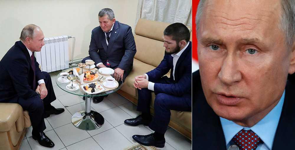 Putin med far och son Nurmagomedov.