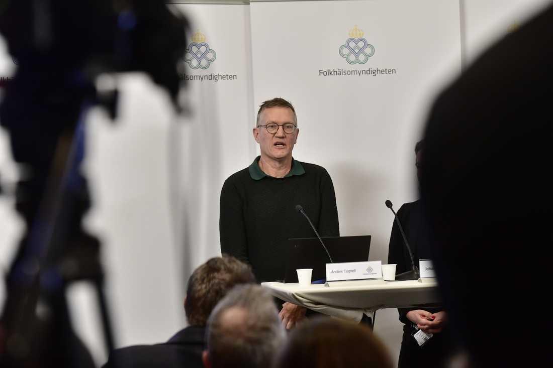 Anders Tegnell på Folkhälsomyndighetens pressträff på tisdagen.
