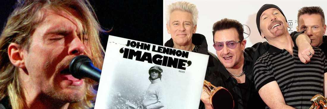 Nirvana, John Lennon och U2 toppar listan.