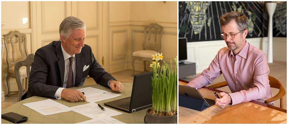 Kung Philippe av Belgien har ett skypemöte och kronprins Frederik sitter i ett digitalt möte med Röda Korset.