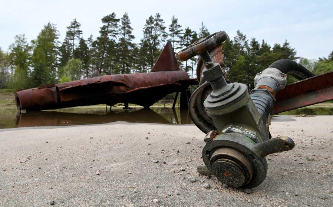 Brandövningsplatsen, där brandskum med PFAS användes, på F17 i Kallinge. Arkivbild.