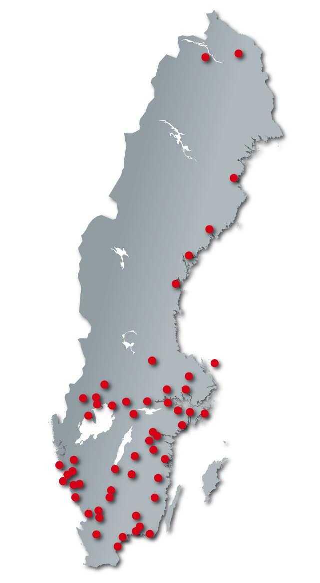 Kartan visar var i Sverige det skett drunkningsolyckor under första halvåret av 2016.