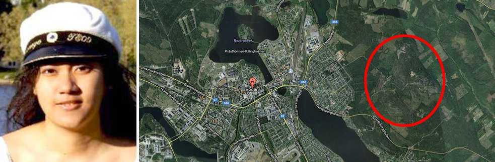 Här i en byggnad vid Gammelängsberget strax öster om Boden har Missing People gjort ett fynd i sökandet efter försvunna Vatchareeya Bangsuan. Polisen har spärrat av byggnaden.