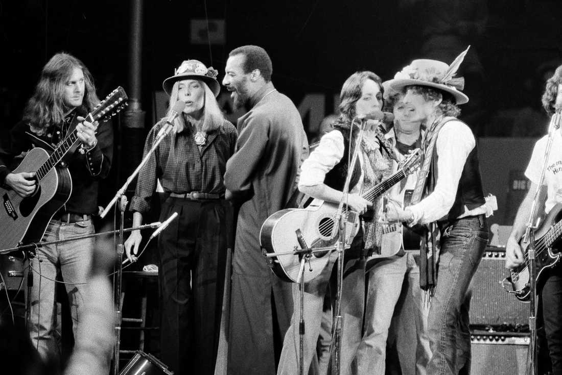 Roger McGuinn, Joni Mitchell, Richie Havens, Joan Baez och Bob Dylan.