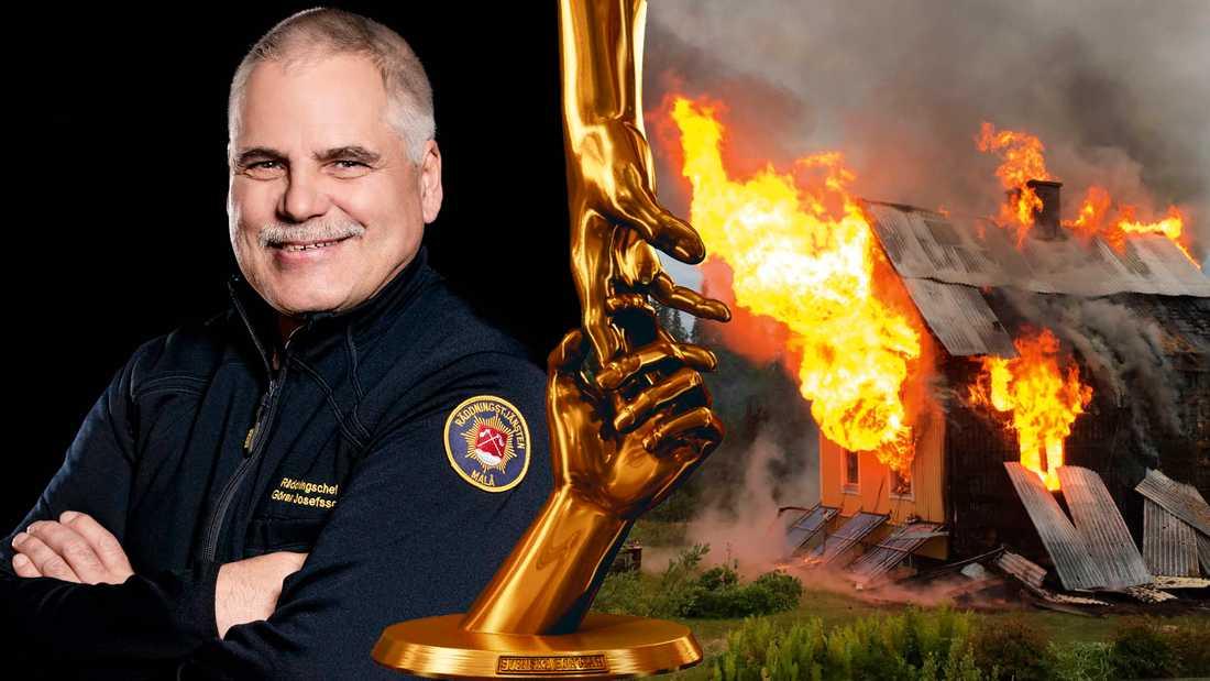 Räddningsledaren Göran Josefsson fick ett larm mitt i natten – en kvinna var instängd i ett brinnande hus och hotades till livet av en yx-man.