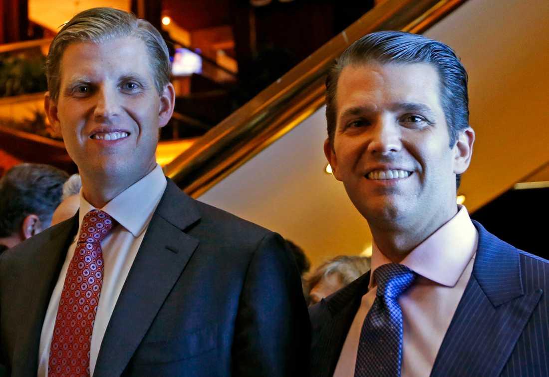 Eric Trump (till vänster) tillsammans med Donald Trump Jr.