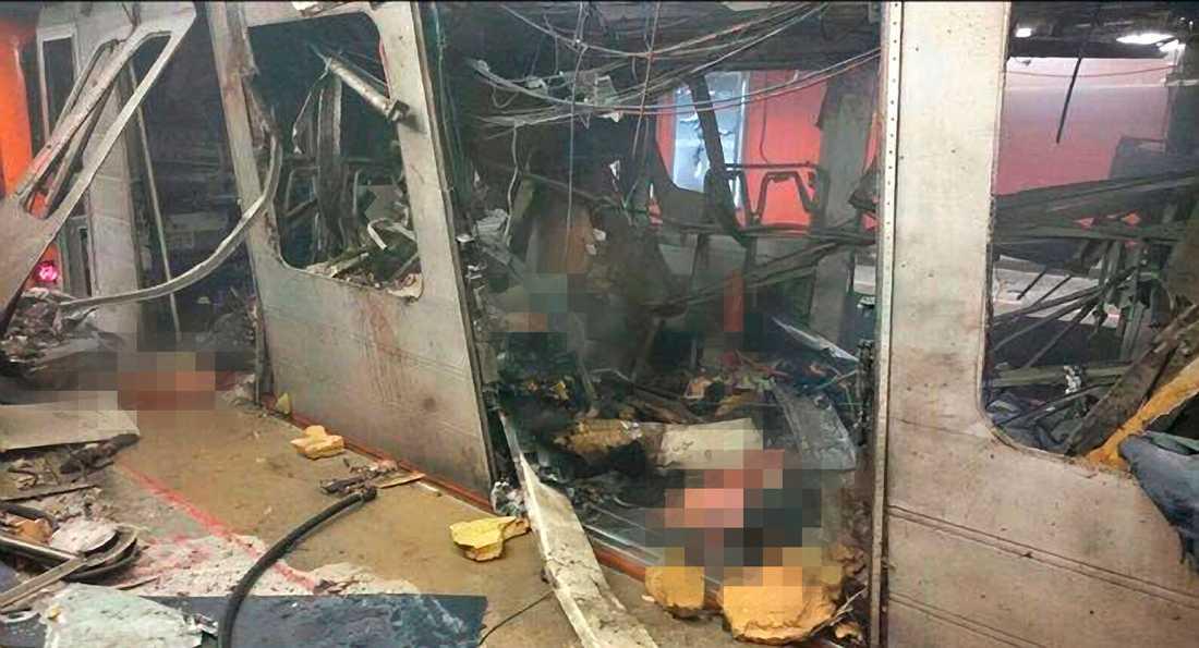 Terrorattack i tunnelbanan i Bryssel.