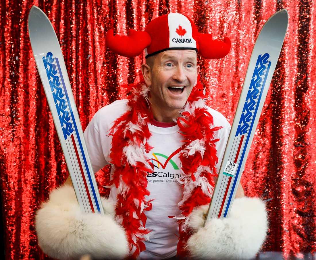 """Klassiska """"Eddie The Eagle"""" stödjer Calgarys OS-kampanj."""