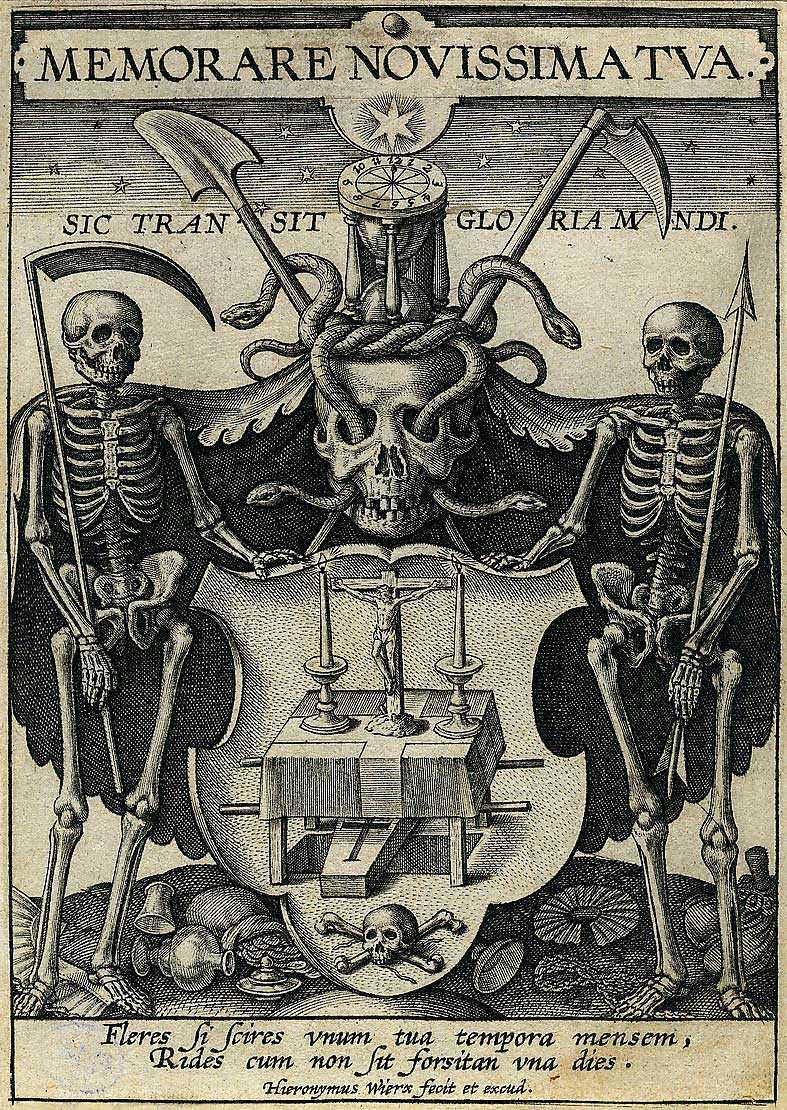 "Hieronymus Wierix: ""Memorare novissima tua"", 1500–1600-tal, gravyr på papper."