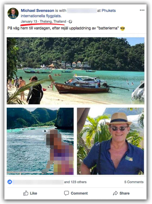 Den 13 januari 2018 la Michael Svensson upp ett inlägg från flygplatsen i Phuket.