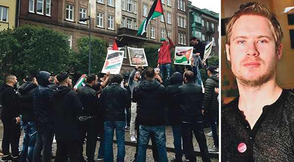 Närbudskapetuttrycks på andra språk än svenska är det lätt hänt att myndigheter ser mellan fingrarna, skriver Tobias Petersson. Bilden är från den palestinska manifestationen i Helsingborg den 24 juli.