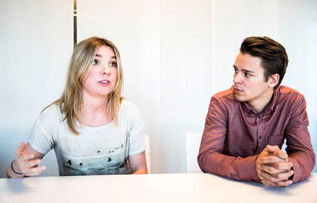 Magda Rasmusson och Lorentz Tovatt, avgående språkrör i Grön ungdom