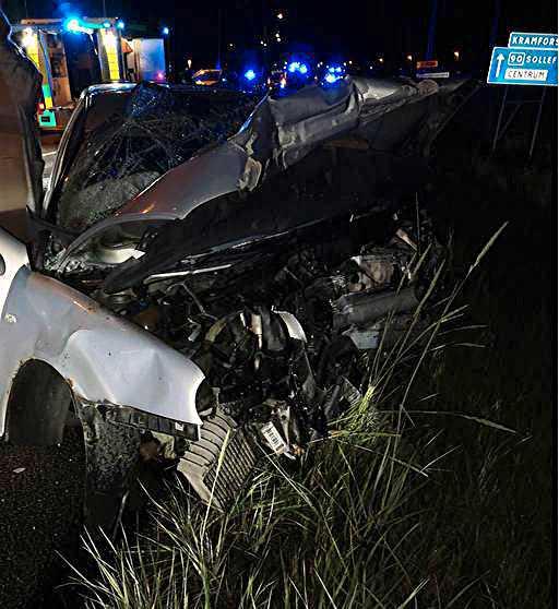 Ett stort räddningspådrag tog hand om de fem skadade efter frontalkrocken.