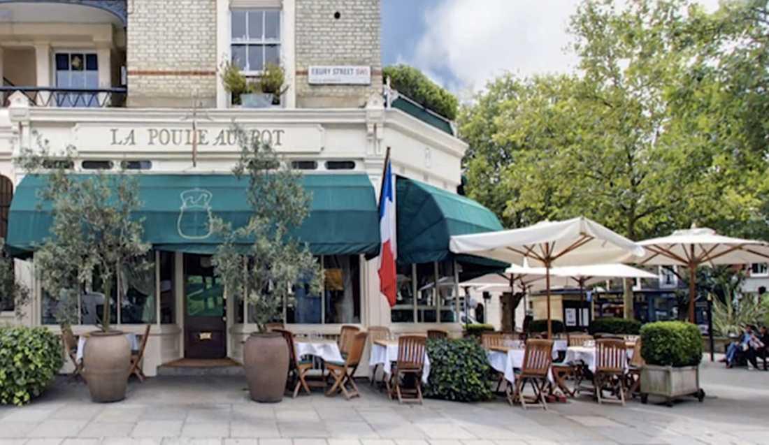 På den exklusiva franska bistron Le Puole a Pot i London äter Stefan Bergmark med sällskap gåslever och dricker vin för drygt 3000 kronor.